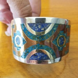 Bracelet with turquoise/silver/brass